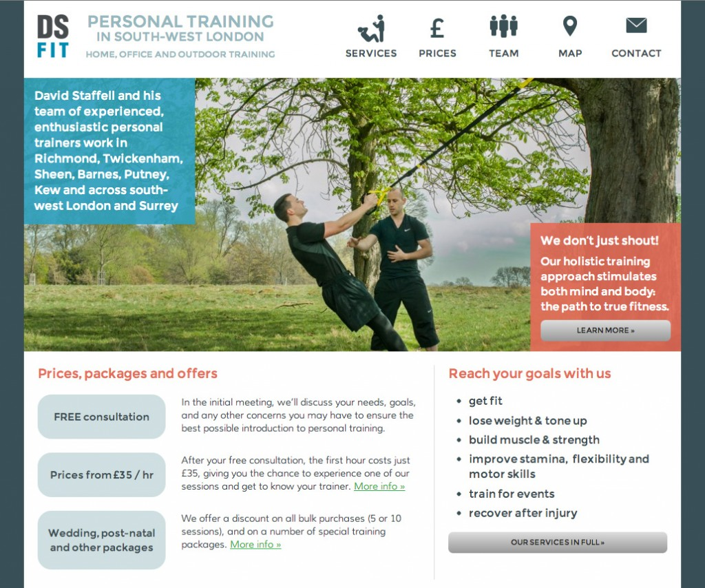 Website and SEO for a local personal trainer | Yes We Work
