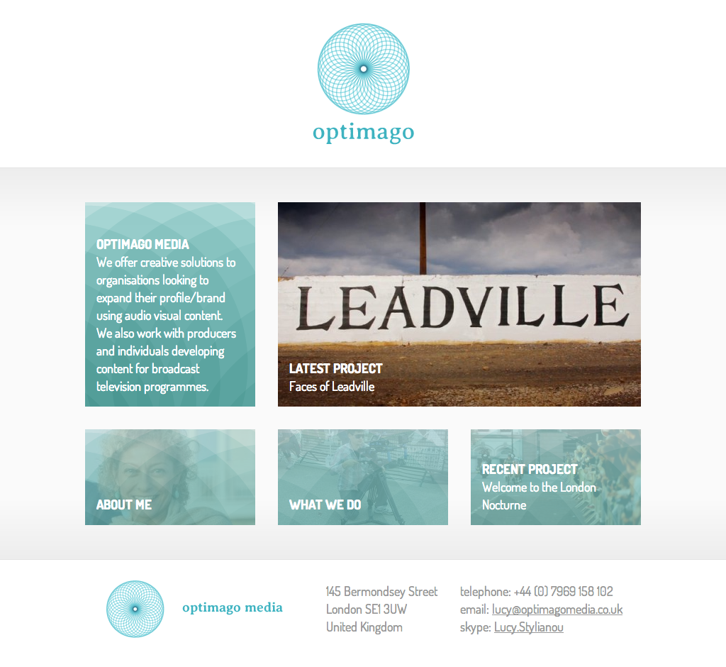Optimago Media logo, stationery and website design   Yes We Work